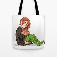 dana scully Tote Bags featuring Scully & Queequeg - Fluffy Punks by Sutexii