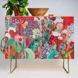 Red floral Jungle Garden Botanical featuring Proteas, Reeds, Eucalyptus, Ferns and Birds of Paradise Credenza