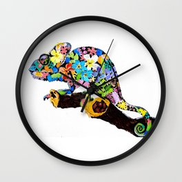 Blending in with Flowers Wall Clock