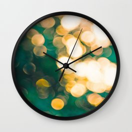 Green Turquoise Bokeh Blurred Lights Shimmer Shiny Dots Spots Circles Out Of Focus Wall Clock