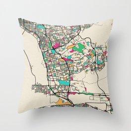 Colorful City Maps: Chula Vista, California Throw Pillow