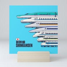 Shinkansen Bullet Train Evolution - Cyan Mini Art Print