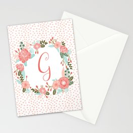 Monogram G - cute girls coral florals flower wreath, coral florals, baby girl, baby blanket Stationery Cards