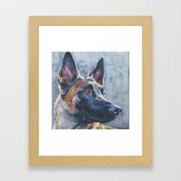 beautiful Belgian Malinois dog art portrait Beautiful Fine Art Dog Painting by L.A.Shepard Framed Art Print