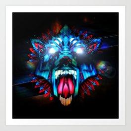 Wolf retro Futurism Art Print