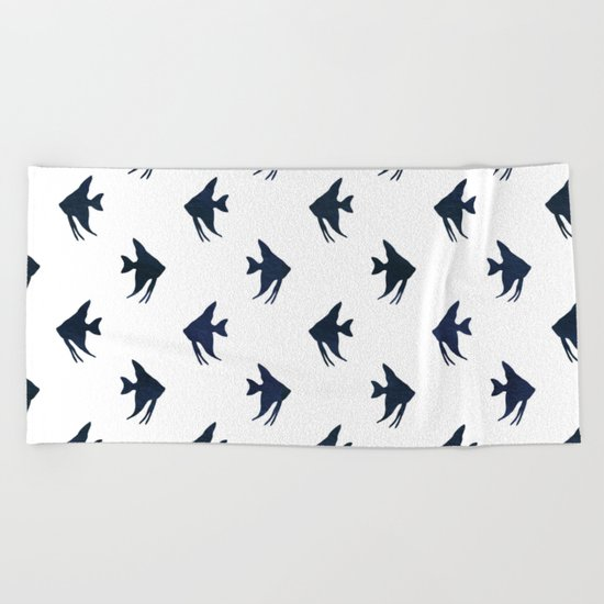 Navy blue and white maritime sea fish animal pattern on #Society6 Beach Towel