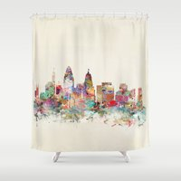 cincinnati Shower Curtains featuring cincinnati ohio skyline by bri.buckley