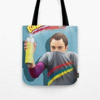 bazinga Tote Bags featuring Sheldon  - BAZINGA! by ShannonPosedenti