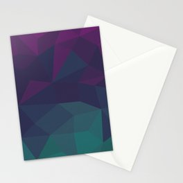 Abstract Geometric Gradient Pattern between dark Magenta and dark Cyan Stationery Cards