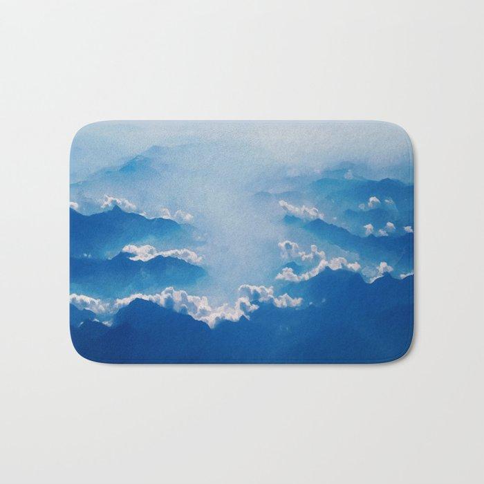 Blue mountains, white clouds Bath Mat
