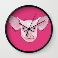 pig Wall Clocks featuring Pig by Compassion Collective
