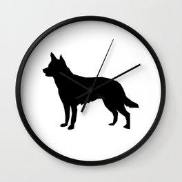 Australian Kelpie dog silhouette dog breed pattern black and white kelpie dog Wall Clock