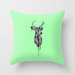 Deer Head III (mint green) Throw Pillow