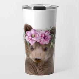 Baby Bear Cub with Flower Crown Travel Mug