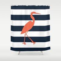 crane Shower Curtains featuring Crane by Gathered Nest Designs