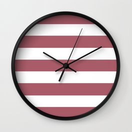 Deep puce - solid color - white stripes pattern Wall Clock