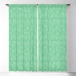Mint Green Cactus Pattern Blackout Curtain