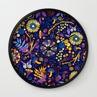 Ripe autumn – purple and yellow Wall Clock