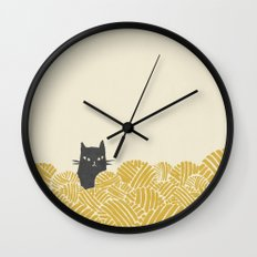 Cat and Yarn Wall Clock