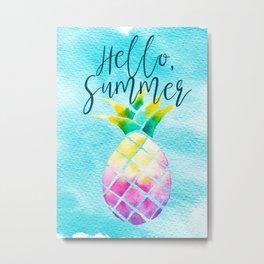 Hello Summer Watercolor Pineapple - Tropical Vacation Pineapple Metal Print
