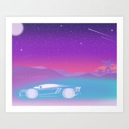 It's fun to drive up in the Hollywood hills Art Print