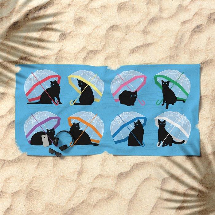 raining cats 'n cats Beach Towel