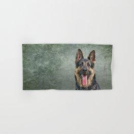 German Shepherd dog. Drawing, illustration funny dog Hand & Bath Towel