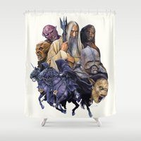 the lord of the rings Shower Curtains featuring SARUMAN the WHITE - LORD OF THE RINGS  by ROY  AIUTO
