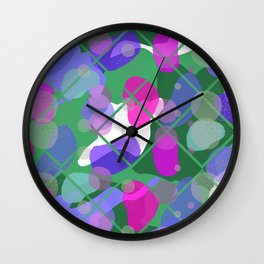 Retro Abstract Multicolored 80s Green Memphis Pattern Wall Clock
