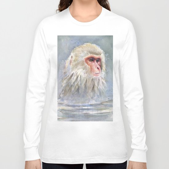 Snow Monkey Watercolor Animal Long Sleeve T-shirt