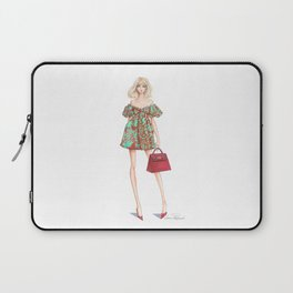 Flirty Fashion Girl Shopping Illustration // Designer Handbag & Dress //Hand Drawn Laptop Sleeve