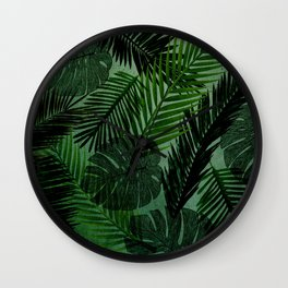 Green Foliage Wall Clock