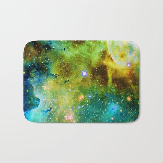 blue green space nebula Bath Mat