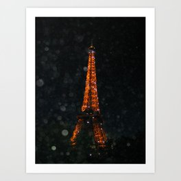 Night time Eiffel Tower Art Print