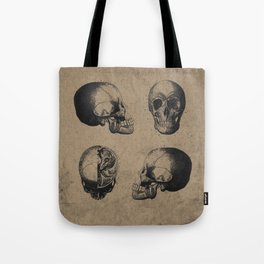 Skull View - Antique Vintage Style Medical Etching Tote Bag