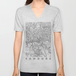 Hamburg Map Line Unisex V-Neck