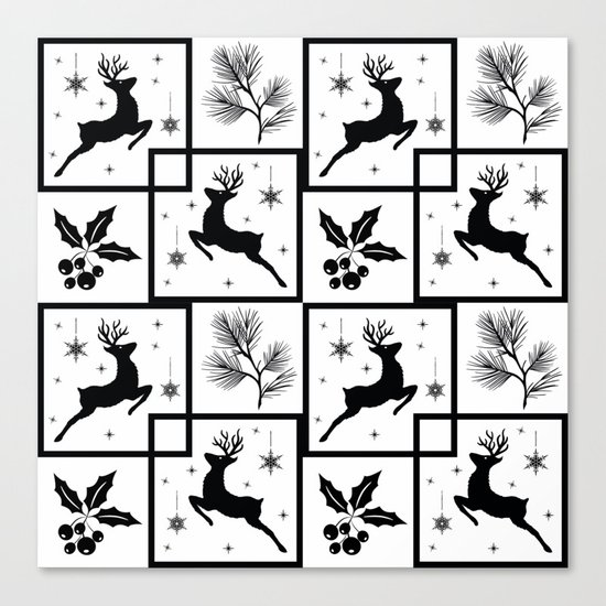 Christmas black and white pattern. Canvas Print