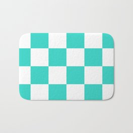 Large Checkered - White and Turquoise Bath Mat