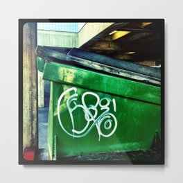 Green graffiti dumpster. Metal Print