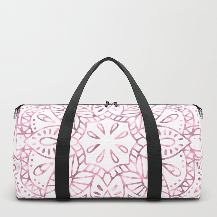 Mandala Rose Garden Pink on White Duffle Bag