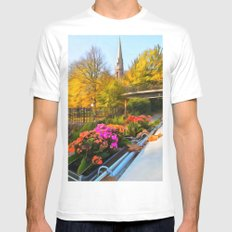 Autumn In Little Venice London Mens Fitted Tee MEDIUM White