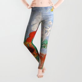 'Sunny Summer's Day on the Island with Flowers' landscape painting by Florine Stettheimer Leggings