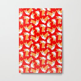 Christmas Corgis Bright Red Pattern Metal Print
