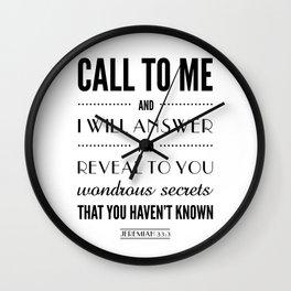 Wondrous Secrets. Jeremiah 33:3.  Wall Clock