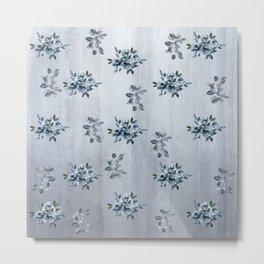 Grey Roses and Leaves Metal Print