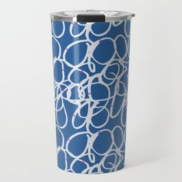 Hand painted abstract white pink pastel blue scribble Travel Mug