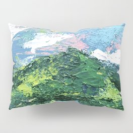 Gunnison: a vibrant acrylic mountain landscape in greens, blues, and a splash of pink Pillow Sham