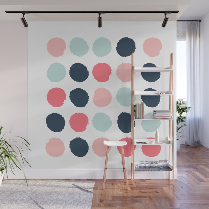 Bon Dots Painted Coral Mint Navy Pink Pattern Dotted Polka Dot Minimalist Wall  Mural By Charlottewinter | Society6