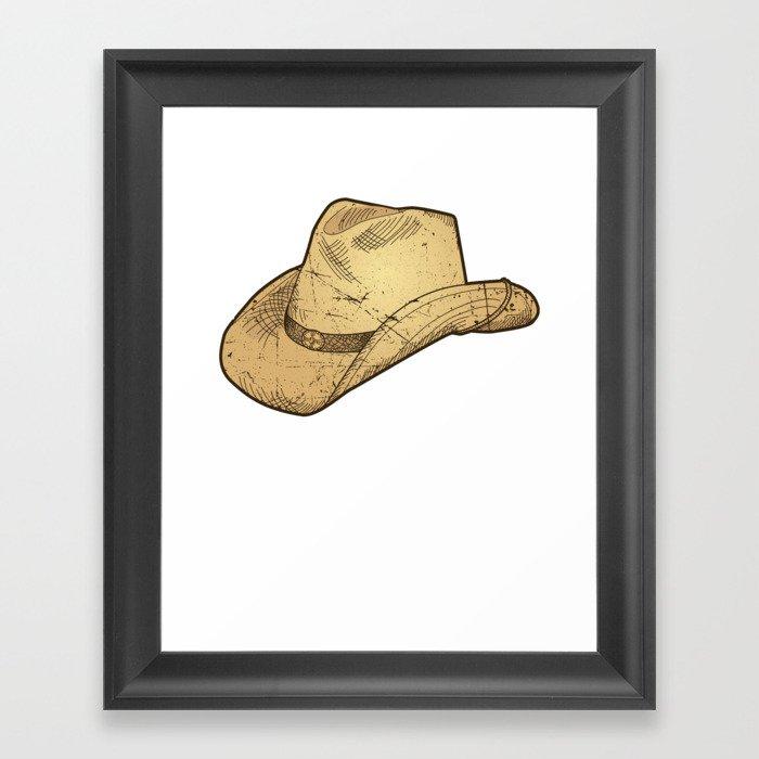 a98672ffb Vintage Retro Western Cowboy Hat Distressed Framed Art Print by mintedfresh