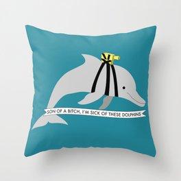 Zissou Dolphin Throw Pillow